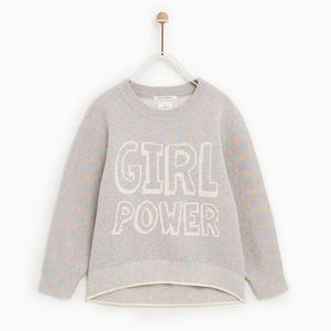 Zara girls fancy collection girl power sweater